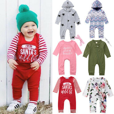 Cute Newborn Kids Baby Girls Boys Romper Jumpsuit Long Pants Outfits Clothes USA