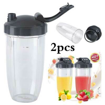 2 x Nutribullet Pro 600/900w Huge Tall Colossal Mug Cup + 2x Flip Top Lids AU