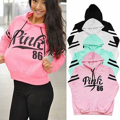 Womens Long Sleeve Hoodie Sweatshirt Sweater Letter Casual Pullover Gym Jumper