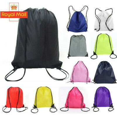 UK School Drawstring Bag Sport Gym Sack Swim PE Kit Shoe Sports Backpack 03abddf52aace