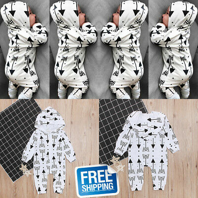 Newborn Baby Boy Girl Hooded Striped Romper Bodysuit Jumpsuit Outfit Clothes