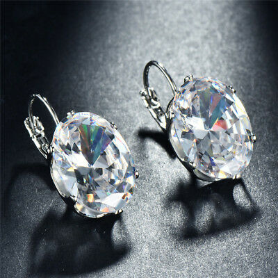 925 Silver Oval Cut White Crystal Hook Drop Dangle Earrings Wedding Jewelry Gift