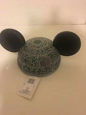 Disney Parks Star Wars Rouge One Death Star Mickey Mouse Ears Hat Adult Size NEW