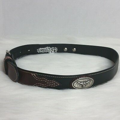 Boys Nocona Brown & Black Leather 26 Western Belt Silver Accents Longhorn Concho