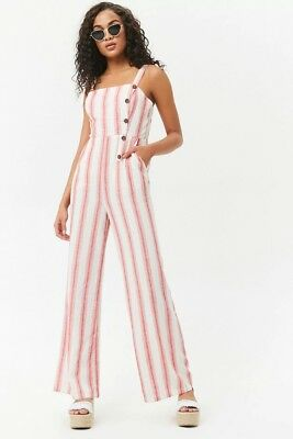 035cc6e2d05 Forever 21 Red Striped jumpsuit (linen blend) New with Tags (Size Small)