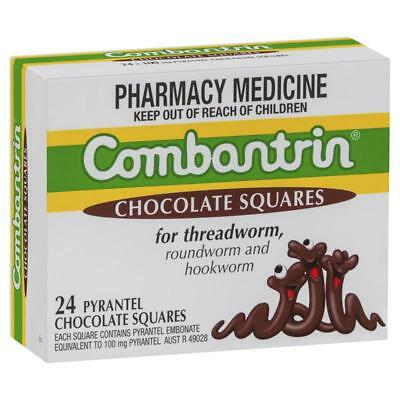 * Combantrin Chocolate Squares For Threadworm 24 Pack Roundworm Hookworm
