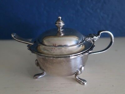 Vintage Silver Plate Mustard Pot With Liner & Spoon
