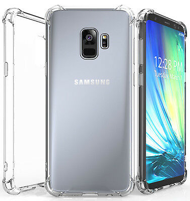 For Samsung Galaxy S9 & Plus Clear Hybrid Shockproof Soft TPU Bumper Case Cover