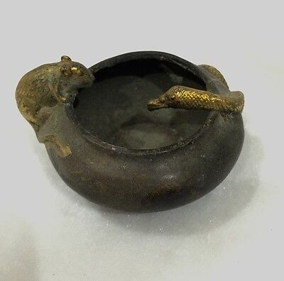 Antique hand carved snake with the mouse's ashtray