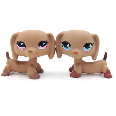 2*Hasbro Littlest Pet Shop LPS 518 932 Toys Brown Puppy Dachshund Wiener Dog Toy