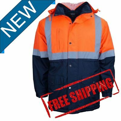Hi-Vis Mens Work Wear Shower Water Proof Wet Weather Quilted Warm Jacket PPE