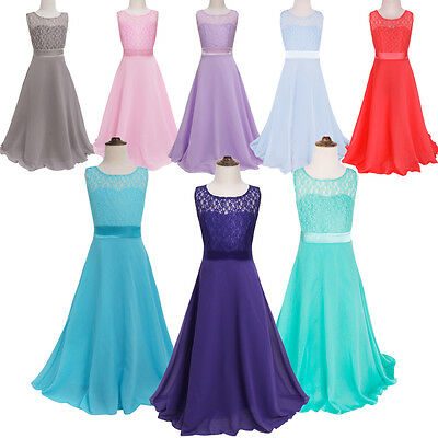 Kids Flower Girl Pageant Birthday Wedding Bridesmaid Formal Chiffon Maxi Dress