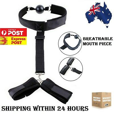 Adjustable Wrist To Collar Handcuff Mouth Gag Neck Restraint Strap S&M Sex Toy