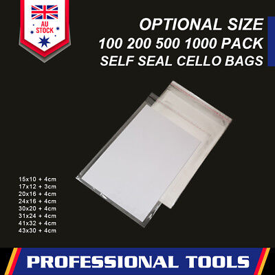 Clear Self Seal Bags Adhesive Cello Cellophane Resealable Plastic Optional Size
