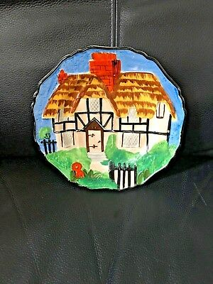 Cottage Plate Hancock's Ivory Ware 1930s Hand Painted Art Deco Vintage Pottery
