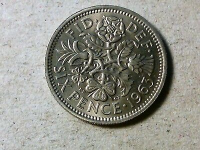 Great Britain Sixpence 1963 6 pence   Wedding coin gift . QEII young queen high