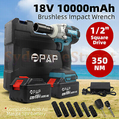 """21V Lithium Ion Cordless Impact Wrench Li-ion 1/2"""" Drive Ratchet w/ 2X Battery"""
