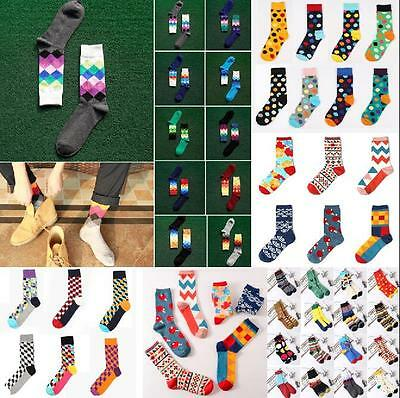 1 pair Useful Mens Colorful Cotton Happy Socks Warm Diamond Casual Dress Socks