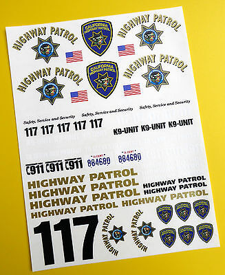 RC 18th SCALE CALIFORNIA HIGHWAY PATROL 'CHiPs' police style Decals Stickers