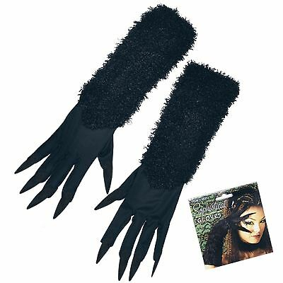Womens Cat Gloves With Fabric Nail Claws Halloween Ladies Comic Horror Accessory