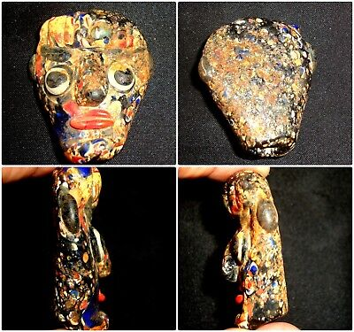 Rare Huge Ancient Glass  Phoenician Colorful Face Bead Mosaic Pendant 226