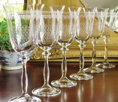 "Beautiful Bohemia Crystal ""Pall Mall"" Wine glasses, boxed set of 6."