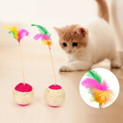 Cat Feather Sisal Rope Ball Colorful Mouse Scratching Toys Training Pet Supplies