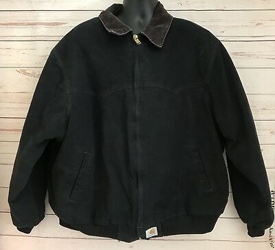 CARHARTT Mens Black Traditional Quilt Lined Jacket Size 3XL Work Wear