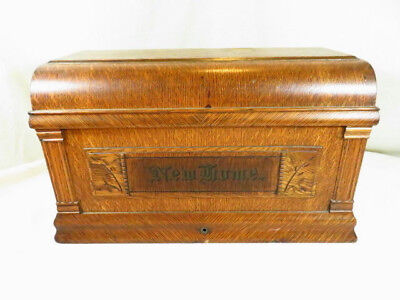 Vtg  NEW HOME Treadle Sewing Machine COFFIN TOP Cover Lid Carved Wood Oak