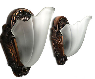 Restored - Pair Art Deco Slip Shade Wall Sconces Antique Light Fixture Vintage