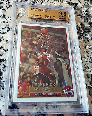 LEBRON JAMES 2003 Topps Chrome #1 Pick Rookie Card RC Cavaliers BGS 9.5 10 MVP $