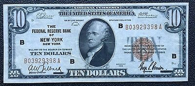$10 Series 1929 National Currency/ Fed Reserve Bank Of New York, Ny