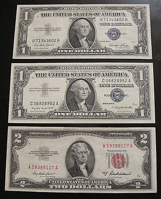 MIX LOT OF 3 x $1 & $2 US NOTES & SILVER CERTIFICATES XF / AU #A26
