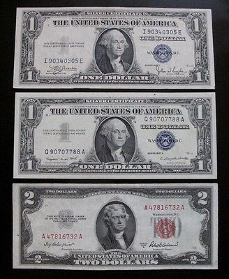 MIX LOT OF 3 x $1 & $2 US NOTES & SILVER CERTIFICATES XF / AU #A29