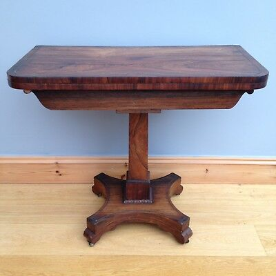 Antique Regency Rosewood Card Table c1800s Brass Inlay Fold Over Tea Games