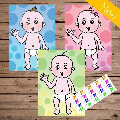 Pin the Dummy - Baby Shower Game - Pink Blue Green - Boy Girl - 20 40 Player