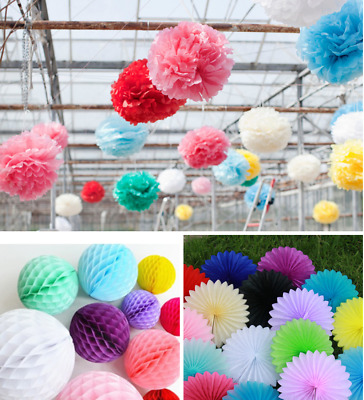 Tissue Paper  Pom Poms Fan Honeycomb Ball Wedding Party Baby Living Room DŽco