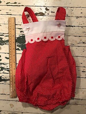 Vintage Red And White Polka Dot Romper Thomas Baby Outfit