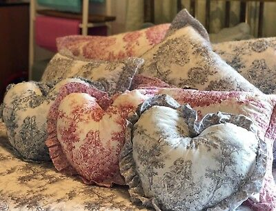 Luxury Toile Pink Grey Blue 100% Cotton Cushions Square Boudoir Heart Filled Set