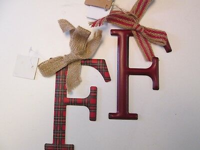 Tin Initial F Ornaments with Bows, Plaid and Red, Set of 2, NWT