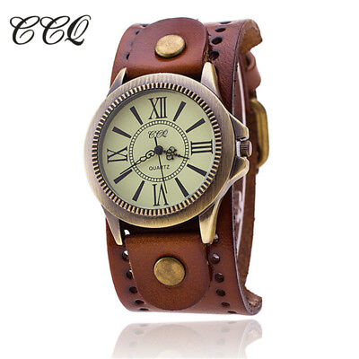 CCQ Luxury  Vintage Roman Leather Bracelet Watch Women Antique WristWatch Cas...