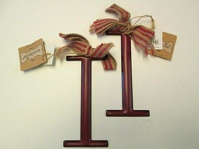 Tin Initial I Ornaments with Burlap Bows, Red, Set of 2, NWT