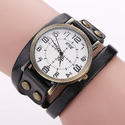 CCQ Vintage Leather Bracelet Watch Antique Women Wrist Watch Casual Ladies Qu...