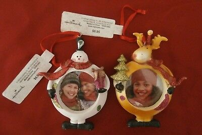 HALLMARK Lot of 2 Whimsical Christmas Picture Frame Ornaments Moose/Snowman NEW