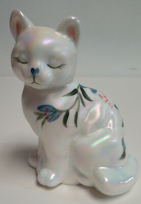 Fenton Art Glass Hand Painted Iridescent Milk Glass Vintage Sitting Cat Figurine