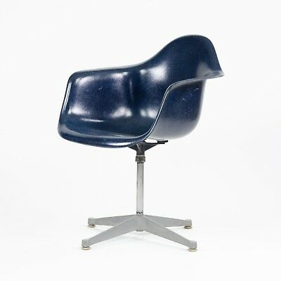 1960's Eames Herman Miller Navy Blue Fiberglass Chair Arm Shell Holes Repaired