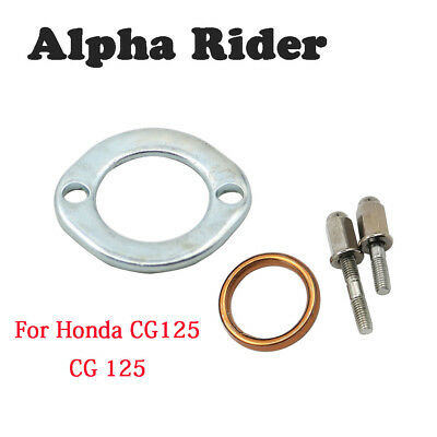 Chrome Exhaust Stud and Domed Nut Nuts With Gasket Clamp For Honda CG125 CG 125