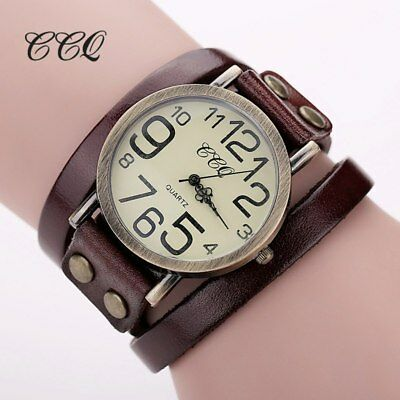 CCQ   Antique Leather Bracelet Watch Vintage Women Wrist Watch Fashion Unisex...