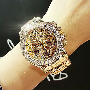 High Quality Luxury Crystal Diamond Watches Women Gold Watch Steel Strip Rose...