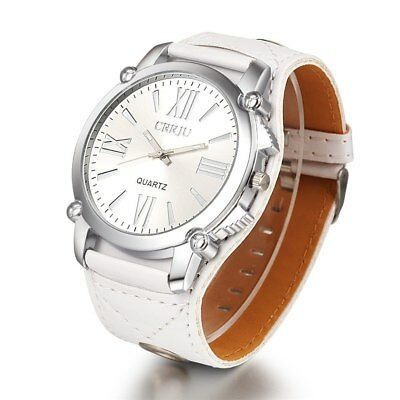 High Quality CRRJU Top  Leather Watch Women Ladies Fashion Dress Quartz Wrist...